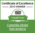 TripAvisor 2013 Winner - Camellia Motel 2013 Certificate of Excellence
